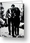 Civil Rights Greeting Cards - Freewheelin Greeting Card by Luis Ludzska
