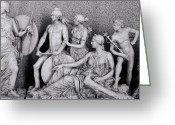 Sheild Greeting Cards - Freeze from Parthenon 3 BW Greeting Card by Linda Phelps
