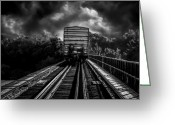 Railroad Tracks Greeting Cards - Freight Train Blues Greeting Card by Bob Orsillo