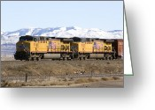 Freight Greeting Cards - Freight Train East of Boise Greeting Card by David R Frazier and Photo Researchers