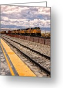 Freight Greeting Cards - FREIGHT TRAIN Palm Springs Greeting Card by William Dey