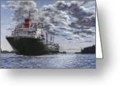 Great Painting Greeting Cards - Freighter Inviken Greeting Card by Richard De Wolfe