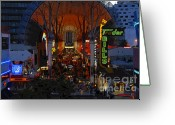 Fremont Street Greeting Cards - Fremont Street Nevada Greeting Card by David Lee Thompson