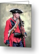 Frontier Art Greeting Cards - French and Indian War British Royal American Soldier Greeting Card by Randy Steele