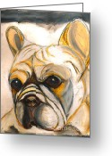 French Bulldog Prints Greeting Cards - French Bulldog Drawing Greeting Card by Ania M Milo