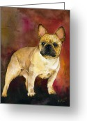 Unique Gifts Greeting Cards - French Bulldog Greeting Card by Kathleen Sepulveda