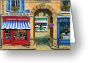 Europe Painting Greeting Cards - French Butcher Shop Greeting Card by Marilyn Dunlap