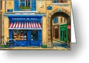 Cat Painting Greeting Cards - French Cheese Shop Greeting Card by Marilyn Dunlap
