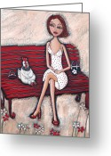 Red Shoes Greeting Cards - French Chics Greeting Card by Denise Daffara