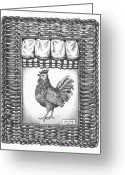Wicker Basket Greeting Cards - French Country Rooster Greeting Card by Adam Zebediah Joseph