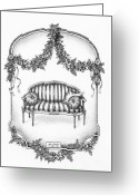 Swag Drawings Greeting Cards - French Country Sofa Greeting Card by Adam Zebediah Joseph