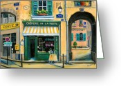 Street Lamps Greeting Cards - French Creperie Greeting Card by Marilyn Dunlap