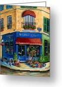 Flower Pots Greeting Cards - French Flower Shop Greeting Card by Marilyn Dunlap