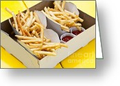 Order Greeting Cards - French fries in box Greeting Card by Elena Elisseeva