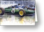 Hill Painting Greeting Cards - French GP 1963 Start Lotus vs BRM Greeting Card by Yuriy  Shevchuk