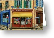 Brasserie Greeting Cards - French Hats and Purses Boutique Greeting Card by Marilyn Dunlap