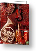 Wreaths Greeting Cards - French horn Christmas still life Greeting Card by Garry Gay