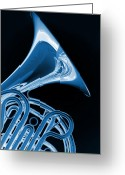 Museum Print Greeting Cards - French Horn Isolated on Black Greeting Card by M K  Miller