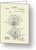 Patent Artwork Greeting Cards - French Horn Musical Instrument 1914 Patent Greeting Card by Prior Art Design