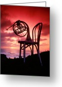 Brass Instruments Greeting Cards - French horn on chair Greeting Card by Garry Gay