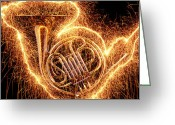 Orchestra Greeting Cards - French horn outlined with sparks Greeting Card by Garry Gay