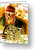 Player Mixed Media Greeting Cards - French Horn Greeting Card by Stephen Younts