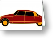 Asbjorn Lonvig Greeting Cards - French Iconic Car - Virtual Car Greeting Card by Asbjorn Lonvig