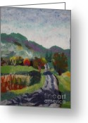 Felted Tapestries - Textiles Greeting Cards - French Landscape Greeting Card by Nicole Besack