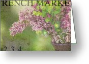 Purple Greeting Cards - French Market Series M Greeting Card by Rebecca Cozart