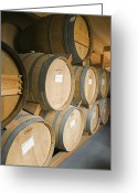 Wine Cellars Greeting Cards - French Oak Barrels Of Wine At Midnight Greeting Card by Rich Reid