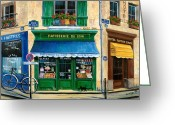 Fine Art Cat Greeting Cards - French Pastry Shop Greeting Card by Marilyn Dunlap