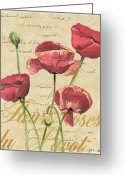 Bud Mixed Media Greeting Cards - French Pink Poppies 2 Greeting Card by Debbie DeWitt