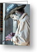 Portraits Photo Greeting Cards - French Quarter Cowboy Mime Greeting Card by Kathleen K Parker