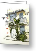 Banana Drawings Greeting Cards - French Quarter Crib Greeting Card by D K Betts