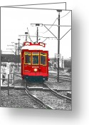 Travelpixpro Greeting Cards - French Quarter French Market Cable Car New Orleans Color Splash Black and White with Film Grain Greeting Card by Shawn OBrien