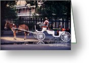Jsm Greeting Cards - French Quarter Taxi Greeting Card by John Malone