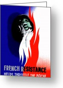 Political  Mixed Media Greeting Cards - French Resistance Helps Throttle The Boche Greeting Card by War Is Hell Store