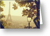 Eiffel Tower Greeting Cards - French Romance Greeting Card by by Smaranda Madalina Cheregi