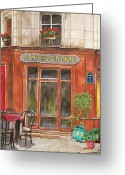 City Garden Greeting Cards - French Storefront 1 Greeting Card by Debbie DeWitt