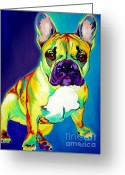 Dawgart Greeting Cards - Frenchie - Tugboat Greeting Card by Alicia VanNoy Call