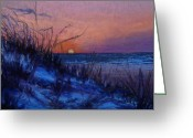 Ocean Landscape Pastels Greeting Cards - Frenchys Sunset Greeting Card by Susan Jenkins