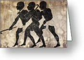 African Heritage Greeting Cards - Fresco - Hunters Greeting Card by Michal Boubin