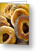 Bread Greeting Cards - Fresh bagels Greeting Card by Elena Elisseeva