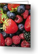 Fresh Picked Fruit Greeting Cards - Fresh berries Greeting Card by Elena Elisseeva