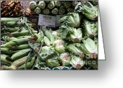 Lettuce Green Greeting Cards - Fresh Corn Lettuce and Carrots - 5D17819 Greeting Card by Wingsdomain Art and Photography