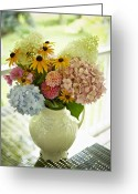 Back Porch Greeting Cards - Fresh Cut Flowers In Vase, Bradford, Ontario, Canada Greeting Card by Shannon Ross