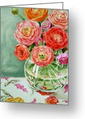 Watercolor By Irina Greeting Cards - Fresh Cut Flowers Greeting Card by Irina Sztukowski