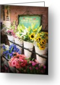 Sharon Obrien-huey Greeting Cards - Fresh Flower Market Greeting Card by Sharon OBrien-Huey