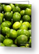 Citrus Fruits Greeting Cards - Fresh Limes Greeting Card by Methune Hively