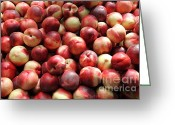 Fruit Basket Greeting Cards - Fresh Nectarines - 5D17813 Greeting Card by Wingsdomain Art and Photography
